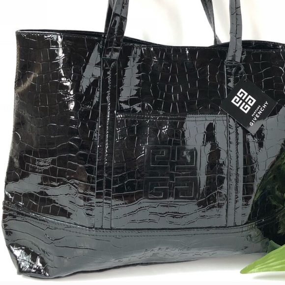 GIVENCHY BLACK PATENT LEATHER TOTE 9a807dff03a9c